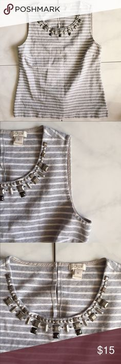 J. Crew striped gray tank. Size S Soft gray and white striped tank with beading detail. Button enclosure on back. Great condition. J Crew Factory. J. Crew Tops Blouses