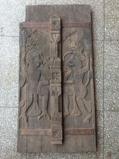 1900 Vintage Old Wood Carving Hindu God Hanuman Garuda Wall Penal Statue Figure