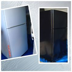 Spray paint fridge from white to black w/ appliance spray paint. #