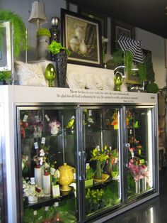 Our fresh flower cooler is always stocked with one-of-a-kind designs that are available for immediate purchase.