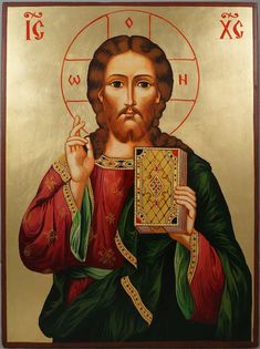 Jesus Christ Pantocrator- Closed Book hand-painted icon