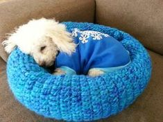 Cozy Pet Bed. Comes out small perfect for a chihuahua. Diy Crochet Dog Bed, Crochet For Dogs, Crochet Cozy, Crochet Dog Clothes, Cute Crochet, Crochet Gifts, Crochet Animals, Crochet Yarn, Crochet Stitches