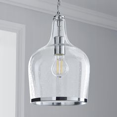 Designed with bubbled glass and an elegant chrome trim, this clear ceiling pendant is perfect for introducing a vintage look to your home. It will bring a contemporary feel to any living space. Glass Pendant Light, Glass Pendants, Pendant Lighting, Glass Ceiling, Ceiling Pendant, Ceiling Lights, White Hallway, Stairs In Living Room, Limestone Flooring