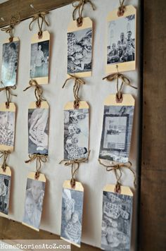 Use for name tags for reunion instead of sticky tags that always fall off tag photo gallery - sweet idea! By Home Stories A to Z Reunion Name Tags, Photo Wall, Tag Photo, Picture Tag, Mini Photo, Frames On Wall, Gallery Wall Frames, Class Reunion Decorations, School Reunion