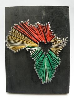 Africa Heart String Art/Home Decor/Wall by Handmadebyvaly on Etsy