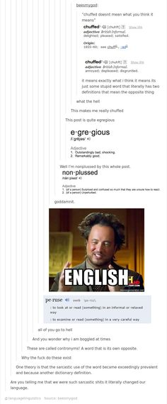 The Funny English Language - 21 hilarious reasons why English is the worst language out there. These reasons are hilarious and will make you laugh! My Tumblr, Tumblr Posts, Tumblr Funny, Dc Memes, Funny Memes, Hilarious, The More You Know, Good To Know, English Language Jokes