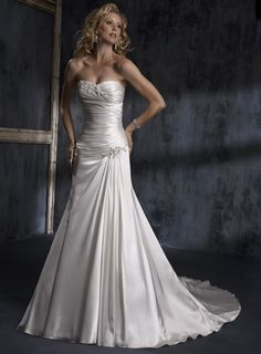 Attractive Strapless Sleeveless Satin wedding dress $323.00 photosami