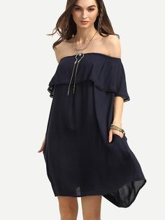 Navy Off The Shoulder Ruffle Shift Dress - Zooomberg