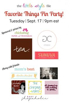 """Pin it to win it! Join the """"Favorite Things Pin Party"""" and win $400 in prizes! PARTY TIME: Tuesday, September 17, 2013 from 9-10 pm EST"""