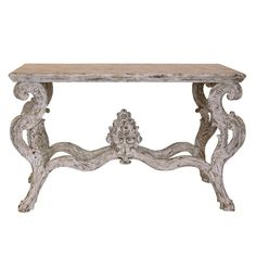 French Shabby Elegance Chic Distressed White Table Console