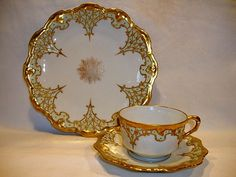 Elegant Limoges Porcelain Trio of Cup, Saucer & Plate ~ Hand Painted with Raised…