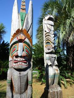 Image result for polynesian totem poles Totem Poles, Garden Sculpture, Outdoor Decor, Image, Totems