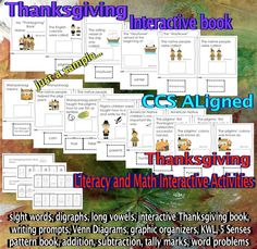 Thanksgiving - Math and Literacy Activities Galore. CCS Aligned (83 pages) Students are engaged in their learning through interactive activities that are focused on both Literacy and Math academic skills. The activities are great for a differentiated approach based on your students' skill level. Great addition to your Literacy and Math Centers. #Thanksgiving #literacy #math #reading #writing
