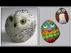 Painting a Cat on a Sea Rock ! Rock Painting Art by Roberto Rizzo Lady Bug Painted Rocks, Painted Rocks Craft, Painted Owls, Rock Painting Ideas Easy, Painting For Kids, Diy Painting, Stone Crafts, Rock Crafts, Owl Mosaic