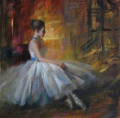"""Daydreaming"" - Original Fine Art for Sale - © Kelvin Lei. So beautiful Ballerina Silhouette, Ballerina Art, Ballet Art, Ballet Dancers, Ballet Painting, Dance Paintings, Ballet Illustration, Ballet Posters, Dance 4"