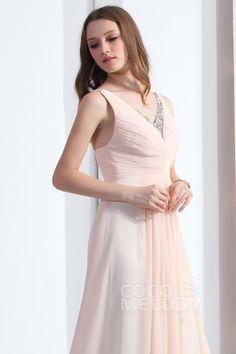 New Style Sheath-Column V-Neck Court Train Chiffon Pink Evening Dress COZT13024 #cocomelody #dresses