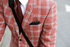 Ted Baker salmon window pane blazer, rust Marks and Spencer knit tie, black polka dot pocket square. Tweed Suits, Mens Suits, Men's Fashion Brands, Knit Tie, Blazers For Men, Pocket Square, Red And Blue, Gentleman, Menswear