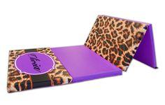 Leopard Print Monogram 4' x 8' Folding Gymnastics Mat