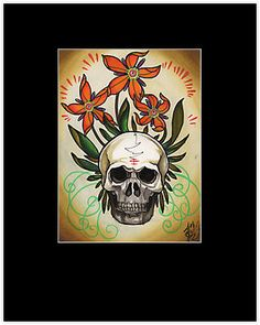 skull with psychedelic flowers, matted print $35  http://www.redbubble.com/people/resonanteye/works/10693507-skull-with-psychedelic-flowers-tattoo-art?p=matted-print
