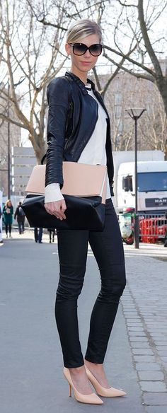 Paris Street Style, perfect fall work outfit. Black skinny jeans, nude pumps, white tee, motorcycle jacket. Top it off with a color blocked structured bag... Parfait.