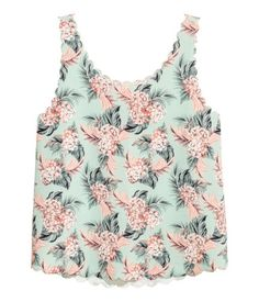 Tank Top with Scalloped Edges | Mint green/floral | Women | H&M US