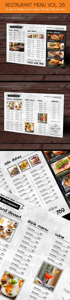 Restaurant Menu vol 28 - Food Menus Print Templates Download here : https://graphicriver.net/item/restaurant-menu-vol-28/19455305?s_rank=84&ref=Al-fatih