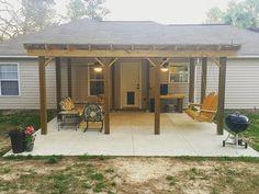 Pergola Kits Attached To House Key: 2664105148 Outdoor Patio Rooms, Patio Roof, Back Patio, Pergola Patio, Backyard Patio, Outdoor Living, Outdoor Decor, Pergola Ideas, Carport Ideas