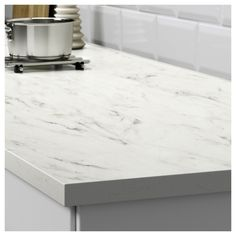 EKBACKEN Worktop, white marble effect, laminate - white marble effect/laminate - cm - IKEA Diy Kitchen, Kitchen Decor, Kitchen Design, Cheap Kitchen, Rustic Kitchen, Ikea Savedal, New Countertops, Ikea Kitchen Countertops, Cuisine Ikea