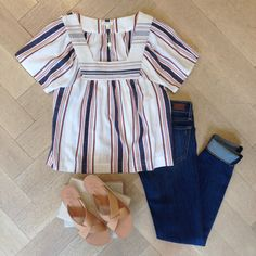 The Eiley Top, San Remo Sandals and Joie Jeans. Click to find a store near you to shop!