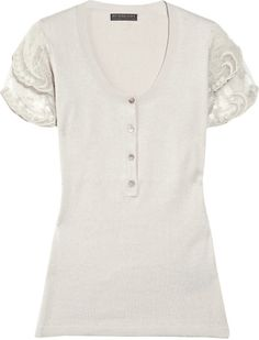 Burberry Prorsum Lace-sleeved Wool-blend Sweater in White