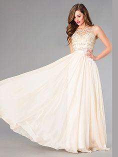 A-Line/Princess Jewel Beading Sleeveless Floor-Length Chiffon Dresses - Prom Dresses