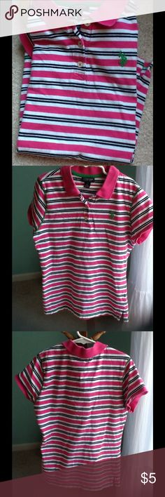 Girls polo shirt Classic pink,blue,white,with green logo.great condition U.S. Polo Assn. Shirts & Tops Polos
