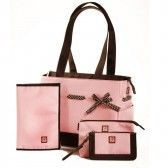 JP Lizzy Designer Strawberry Truffle Classic Diaper Bag Tote Set - SophiasStyle.com
