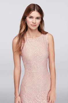 Imagine your 'maids leading you down the aisle in this lovely dress: Soft mesh godet insets give the fitted stretch lace tank silhouette a bit of graceful swish with each step.   Violets and Roses  Polyester  Back zipper; fully lined  Dry clean  Imported