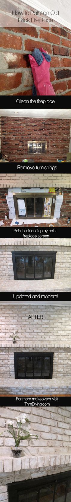 Most current Pic Brick Fireplace remodel Ideas It often gives to omit the particular renovate! Instead of extracting a strong aged brick fireplace , save money but sti Fireplace Update, Paint Fireplace, Brick Fireplace Makeover, Fireplace Remodel, Brick Fireplaces, Fireplace Ideas, Fireplace Mantels, Foyers, Old Bricks