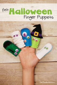 Felt Halloween Finger Puppets Tutorial: Finger puppets are the perfect accessory for playtime. Give them a holiday twist with colored felt and googly eyes.