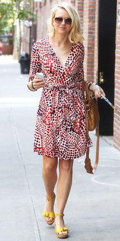 Naomi Watts Spotted out running errands. Banana Republic Issa London dress Stella McCartney Linda Wedge Sandals ($394) Balenciaga Arena Giant Town Bag ($1795)