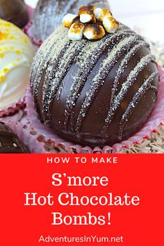 Hot Chocolate Bombs are a fun, fancy way to enjoy your hot chocolate, so why not try some yummy flavors?! This post contains basic info, a tutorial on how to make a simple set of hot chocolate bombs, and 6 fabulous flavors! One of these yummy flavors is this S'more Hot Chocolate Bomb! Hot Chocolate Gifts, Christmas Hot Chocolate, Homemade Hot Chocolate, Hot Chocolate Bars, Hot Chocolate Recipes, Chocolate Treats, Hot Cocoa Recipe, Bombe Recipe, Hot Cocoa Mixes