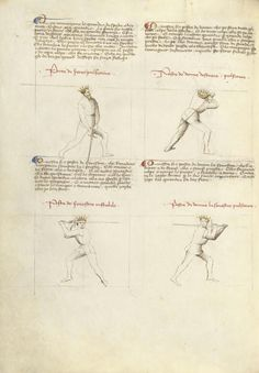 Combat with Sword Artist/Maker(s): Fiore Furlan dei Liberi da Premariacco, author [Italian, about 1340/1350 - before 1450] Date: about 1410 Medium: Tempera colors, gold leaf, silver leaf, and ink on parchment Dimensions: Leaf: 27.9 x 20.6 cm (11 x 8 1/8 in.) Object Number: 83.MR.183.23v Department: Manuscripts