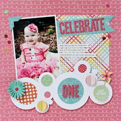 Lynn Ghahary for Pebbles using the Hip Hip Hooray collection Baby Girl Scrapbook, Baby Scrapbook Pages, Scrapbook Paper Crafts, Scrapbook Albums, Scrapbook Cards, Scrapbook Photos, Birthday Scrapbook Layouts, Scrapbook Page Layouts, Christmas Chalkboard