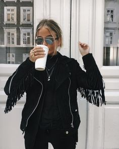 Black fringe jacket.
