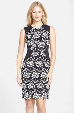 BCBGMAXAZRIA 'Laurine' Floral Lace Overlay Sheath Dress available at #Nordstrom