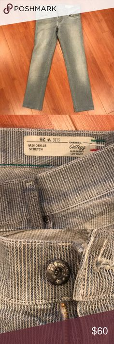 Diesel jeans Great Getlegg stretch style jeans. Very sliming look with stretch...so comfortable! A light blue grey wash. Classic Diesel worn in look. Never really got out of the closet.  Have darker blue in my closet and other Diesel jeans too. Diesel Jeans