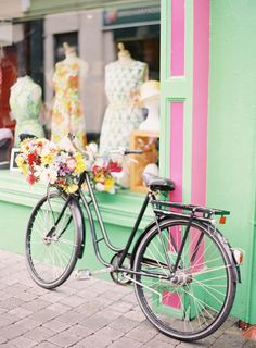 Flower Adorned Bicycle in Ireland Bicycle Decor, Bicycle Art, Surprises For Husband, Bike Photography, Small Town Girl, Cycle Chic, Old Bikes, Vintage Bicycles, Adventure Is Out There