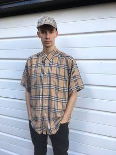 Men's vintage Burberry shirt Burberrys shirt short sleeve sleeved button up Burberry top Burberrys top nova check shirt nova check top Beige vintage top 70s 80s