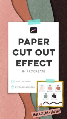 Create an eye catching paper cut out effect in Procreate! Video tutorial: (includes colors + free b Paper Cutting, Cut Paper, Lettering Tutorial, Lettering Ideas, Creative Lettering, Digital Art Tutorial, Ipad Art, Illustrator Tutorials, Photoshop Illustrator