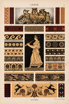 """Greek Pottery Wine amphora, drinking vessels and vases. """"The oldest Greek vases are the most simply decorated; on a light ground colour of clay… Greek History, Art History, Greece Art, Greek Pattern, Ancient Greek Art, Greek Design, Art Antique, Roman Art, Minoan"""