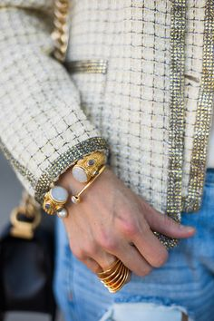 Details.  how to wear a chanel jacket with boyfriend jeans, julie vos baroque cuff and gigi bangle, vita fede futuro ring