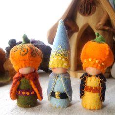 Harvest Pumpkin Cap Gnome Waldorf Storytelling Dollhouse Doll. $32.00, via Etsy.