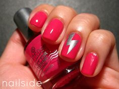 Solid color with lightning bolt accent nail.